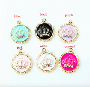 100pcs Gold Tone 17 * 20mm Enamel Crown Charms Oil Drop Crystal Crown Pendant Fit Bracelet DIY Fashion Jewells