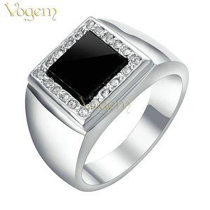 VOGEM Mens Signet Rings Argento Placcatura CZ Zirconia Seal Ring con pietra nera Piazza gioielli punk fidanzato regali di Natale