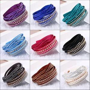 New Fashion 10colors Pu Leather Wrap Wristband Cuff Punk Rhinestone Bracelet Crystal Bangle Charm Bracelets for women