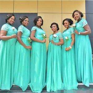 Cheapest Bridesmaids Dresses 2020 cappuccio in Mint Green merletto chiffon damigella d'onore Gowns maniche di una lunga serie abiti di sera BM0145