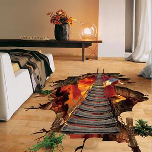 Vivid 3D Puente Volcánico Etiqueta de La Pared Casa Salón Dormitorio Dormitorio Decoración para el hogar Calcomanías de PVC Venta caliente