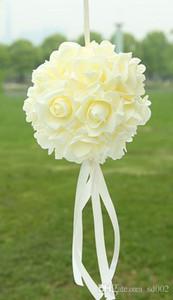 ضوء روز الزهور الكرة مع الشريط الحرير رائعة اللون باقة 14 سنتيمتر رغوة زينة الزفاف محاكاة زهرة كرات سهلة حمل 13jz cc