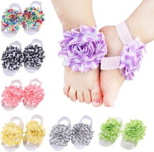 10 쌍 아기 발 꽃 손목 밴드 맨발 샌들 Folds시 폰 꽃 양말 커버 맨발 로트 H091
