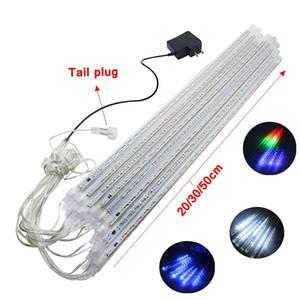 Comercio al por mayor 8PCS / Set Nevadas Luz de tira de LED Luz de Navidad Tubo de lluvia Lluvia de meteoros Lluvia de luz LED Tubos 100-240V UE / EE. UU. Enchufe