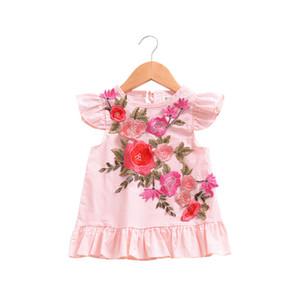 2018 Yaz Bebek Giydirme Sevimli Nakış Çiçek Tasarım Küçük Kız Elbise Bebek Kız Giyim Çocuk Elbise 1-4Years için giyim Tops