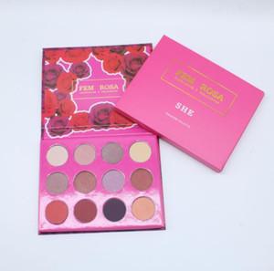 Marca desinger Maquillaje ColourPop Fem Rosa Set 12 colores Sombra de ojos Resaltador Colorete Rosa Paleta a1008