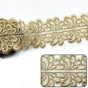Sale by Yard Golden metallic thread flower high quality embroidery Lace Fabric Sewing costumes DIY Lace Trim HB49