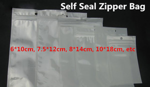 12*20см ясно + белый жемчуг пластиковые Поли Opp упаковки молния страна заблокировать розничные пакеты ювелирных изделий пищевой ПВХ мешок 10*18см 12*15см 7.5*12см