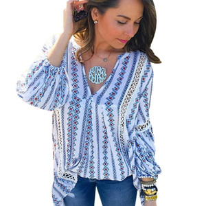2018 Summer Ladies Boho Tops Long Sleeve Womens Floral Blouse Femme Deep V Neck Sexy Striped Shirts Hollow Out Vintage Tunics