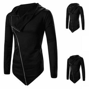 Moda Uomo Autunno Inverno Lungo con cappuccio Trench Moda irregolare Solid Zipper Jacket Coat Cloak Coat Capispalla Plus Size