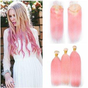 Плетеные светло-розовые Ombre девственные волосы с закрытием Прямой # 613 / Индийские человеческие волосы Pink Ombre 3 пучка сделок с закрытием шнурка 4x4