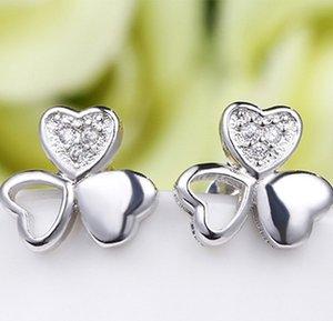 Estilo coreano S925 Sterling Silver Clover Brincos das Mulheres Simples Jóias de Diamante Zircão Brincos Atacado Frete Grátis D0634