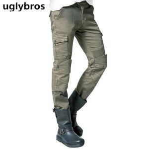 Armee grün uglybros Motorpool Motorrads UBS06 Jeans Herren Jeanshosen Schutzausrüstung moto Hosen Renn