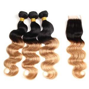Farbige Brazilian Hair 3 Bundles mit 4 * 4-Spitze-Schliessen-Körper-Welle 1B 27 Ombre Blond Menschliches Haar Weaves Verlängerung meistverkauften Artikeln