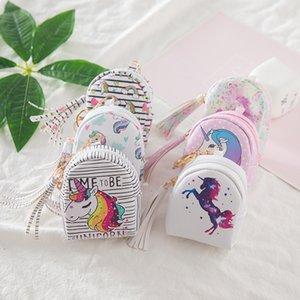Moda niños lindos estilo unicornio de la PU de la borla monedero niños carteras líneas llaves titulares Handbads mujeres bolsas de almacenamiento M038-2
