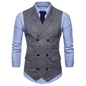 Riinr 2018 Drop Shipping Suit Yelek Erkekler Ceket Kolsuz Bej Gri Kahverengi Vintage TVest Moda
