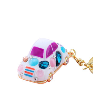 2018 Crystal car keychain New Fashion multicolor key chain Mobile phone shell Women bag charm pendants 10 Colors