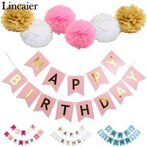 Lincaier Paper Happy Birthday Banner Party Decorations Niños Garland Niños Baby Boy Girl Child Bunting Adultos Favorece Suministros