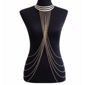 Sexy Lady's Capas Crossover Cadena del cuerpo Collar de borla de múltiples capas de color dorado Bikini Cintura Cadena del vientre Boho Beach Body Jewelry