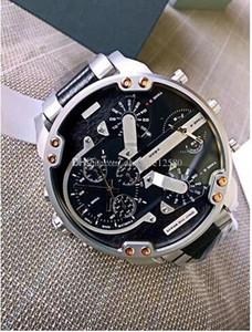 Top Quality DZ7349 Mens Watch Luxury Cool 57mm quadrante grande cinturino in vera pelle Mens Watch Fashion Orologio al quarzo + scatola originale