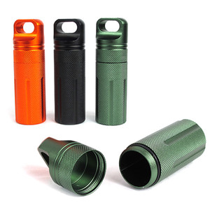 CNC Metal Multifunction Waterproof Case Box Holder Bottle Container with Keychain Outdoor EDC Lifesaving Equipment Key Pendant