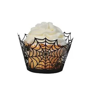 Halloween Spiderweb Papel Magdalena Wrapper Cupcake Toppers Niños Favors Party Decoration Cake Topper Halloween Cake Around