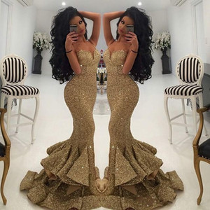 2018 New Designer Bling Gold Sequins Mermaid Prom Spaghetti Open Back Ruffles Sweep Train Evening Gowns Pageant party Formal