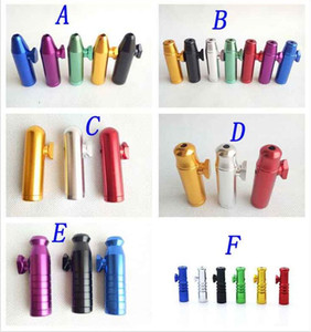 De metal de alumínio bala foguete em forma de Snuff Snorter Sniff Dispenser nasais suportável para o tabaco de fumar cigarro Ferramentas tubo 6 estilos escolher