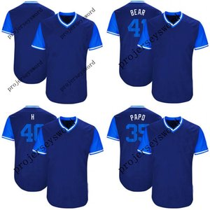Jersey de Kansas City 35 Eric Hosmer Papo 40 Kelvin Herrera H 41 Danny Duffy Bear 2018 Jugadores de béisbol de fin de semana