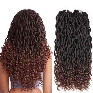 2018 FASHION Crochet Goddess Locs Extensiones de pelo Faux Locs Curly 18 inch Crochet trenzas Ombre Kanekalon Trenzado Hair Bohemian bloqueos