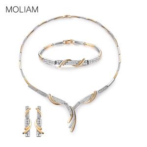 MOLIAM Bridal Wedding Jewelry Sets Women  Crystal Cubic Zircon Engagment Earrings Bracelet Pendant Necklace Set MLT809