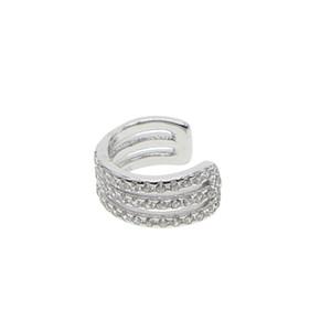 100% 925 plata esterlina de calidad superior cz ronda zirconia cúbica 3 fila pendiente clip para las mujeres de la boda nupcial regalo cuff cz pendientes lindos