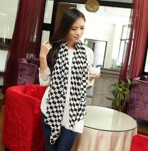 100% seda Coreia do estilo de moda rosa preto cáqui 3 cores chiffon grade geometria cachecol projeto cachecóis xale