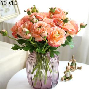 Eco-Friendly 11 Pcs / Lot Artificial Peony Bouquet Flores Artificiales Rosa Flores flor de seda Para Casa Casamento Decoração do outono