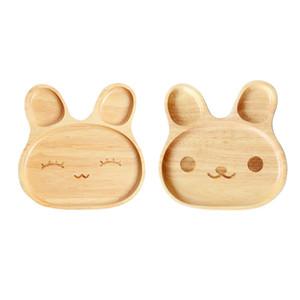 Dibujos animados Lindo Innovador Con forma de Conejo Bandeja Bambú Natural Bebé Alimentación Postre vajilla Plato niños niños vajilla platos