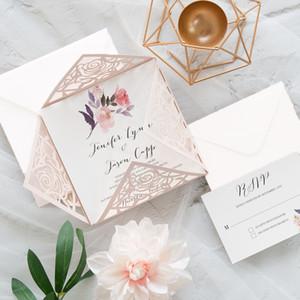 50 Takım Pembe Düğün Dantel Lazer Invitaitons Kartları Zarf Mühür Baskı Kağıt Convites de Casamento Ile Kare Tebrik Sonrası Kartları