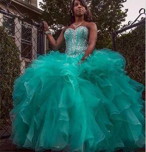 2019 Sparkly Hunter Yeşil Quinceanera elbise Balo Sevgiliye Kristal Boncuk Lace up Artı Boyutu Balo Parti Abiye Organze Tatlı 16 Elbise