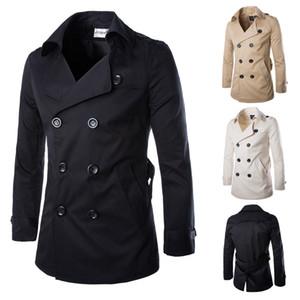 MYAZHOU 2018 Hot Autumn Long Wool Coat Men's Fashion Lapel Wool Blend Double-breasted Pea Jacket Jacket Men's  Coat