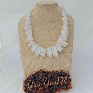 N022964 19 '' natural de titanio cuarzo blanco graduado Faceted Slice Nugget Necklace