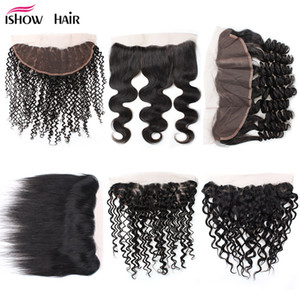 Cheap Brazilian Malaysian Peruvian Indian 24inch 13 X 2.5 Lace Frontal Body Wave Loose Wave Deep Wave Water Straight Hair Free Shipping