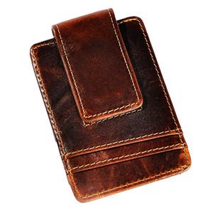 ذكر نوعية الجلود موضة سفر سليم محفظة الجبهة جيب المال المغناطيسي كليب البسيطة حالة المحفظة بطاقة للرجال 1058C