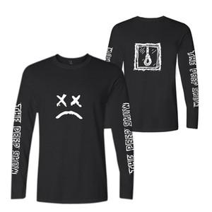 T-shirt de algodão de manga Blackday Kpop Lil Peep Primavera Longo Homens / Mulheres Cotton Imprimir Casual dos homens / mulheres Hip T-shirt Plus Size Hop