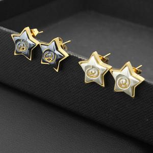 Внешняя торговля ювелирные изделия Оптовая пятиконечная звезда белый жемчуг серый жемчуг серьги стержня розовое золото 18K женские серьги