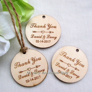 "100pc Personalized Engraved ""Thank You"" Wedding Tags Round Circle Wooden Hang Tags Rustic Wedding Bridal Shower Favors Tag 39mm"
