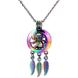 C800 Regenbogen Farbe Dream Catcher Fairy Schmetterling Mond Perlen Käfig Anhänger ätherisches Öl Diffusor Aromatherapie Perle Käfig Halskette