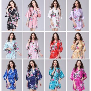 Ropa de verano de las mujeres atractivas Kimono de seda bata de pijamas bata de dormir ropa de dormir ropa de cama rota kimono underwear camisón