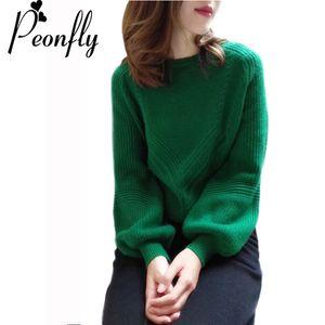 PEONFLY 2018 Nuevas Mujeres Suéteres Moda O-cuello linterna Manga vintage Verde Pullovers Loose Knitting Suéteres Femenino Jumper Tops