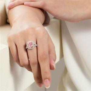 Anelli per le donne Art Deco Anelli di fidanzamento Big Square Noble Pink Ring Vendita calda di gioielli atmosfera classica
