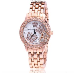 2018 горячие продажи золото серебристый розовое золото роскошный Кристалл бабочка стали полосы наручные часы высокого класса мода женщина кварцевые наручные часы
