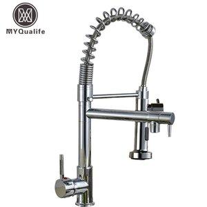 Pull Down torneira da cozinha latão cromado Kitchen Sink Água da torneira bico duplo Torneira Cozinha Lavabo